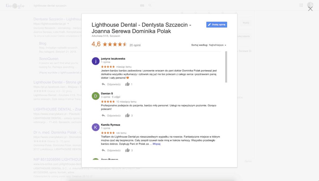 opinie lighthouse dental szczecin